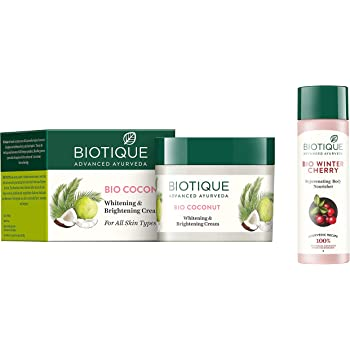 Biotique Bio Coconut Whitening And Brightening Cream, 50g And Biotique Bio Wintercherry Lightening And Rejuvenating Body Nourisher, 190ml