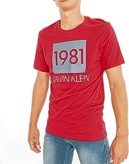 كالفن كلاين تي شيرت كاجوال للرجال , مقاس XL , احمر