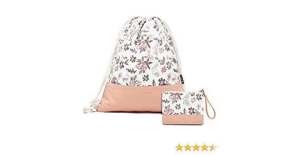 monedero Leapop Bolsa de deporte hipster con bolsillo interior y llavero color rosa de lona