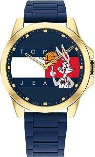 ساعة تومي هيلفيغر تومي جينز للجنسين Space Jam كوارتز مطلية بالذهب مع سوار مطاطي من السيليكون اللون: أزرق (موديل: 1791875)