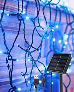 Blue Lights String Decorations Solar and USB Powered OxyLED 22M/72 Ft 200 LED Fairy String Lights Bedroom Indoor Outdoor 8...