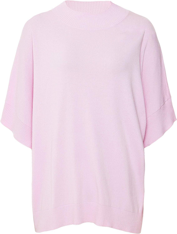 ILSE JACOBSEN Women's Short Sleeve Rib Detail Jumper Pink