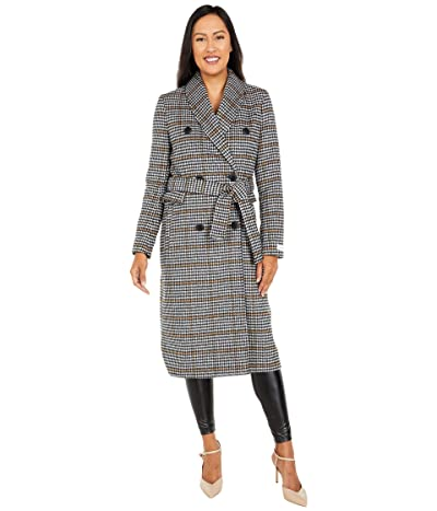 Calvin Klein Houndstooth Double Breasted Wool Coat (Black Houndstooth) Women