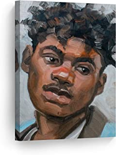 Smile Art Design A Young Person in Their 20s by Kenney Mencher, African American Man Oil Painting Canvas Print Living Room Decor Wall Art Bedroom Home Decor Artwork Ready to Hang Made in USA - 12x8