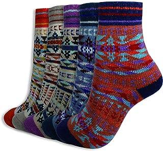 PACOLO, 5 pares de calcetines de invierno para mujer, mezcla de lana, gruesos, cálidos, talla 36-43
