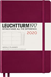 Leuchtturm1917 Medium A5 Plus 2020 Weekly Planner with ExtraBookletfor Anniversaries and Addresses - 144 Pages, Port Red
