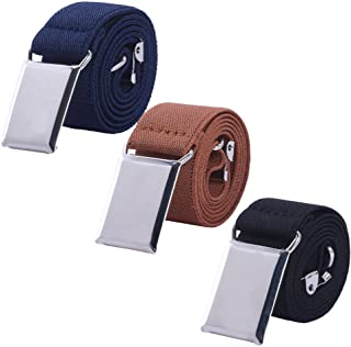 Toddler Boy Kids Buckle Belt - Adjustable Elastic Child Silver Buckle Belts, 3 Pieces