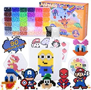Longruner 10000, 36 Colors Fuse Beads Kit 5mm DIY Art Craft Toys for Kids with 4 Pegboards, 60 30 Pattern Paper| B, 10000pcs