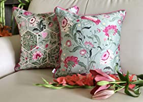 TARA Sparkling Homes Enchanted Forest from Hawaiian Paradise Collection Silk and Cotton Blend Cushion Covers (Sage...