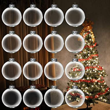 12Pcs Clear Glass Ball Ornaments 3.15 Inch for Crafts DIY, Large 80mm Fillable Ornaments Removable Top, Clear Ball Ornaments