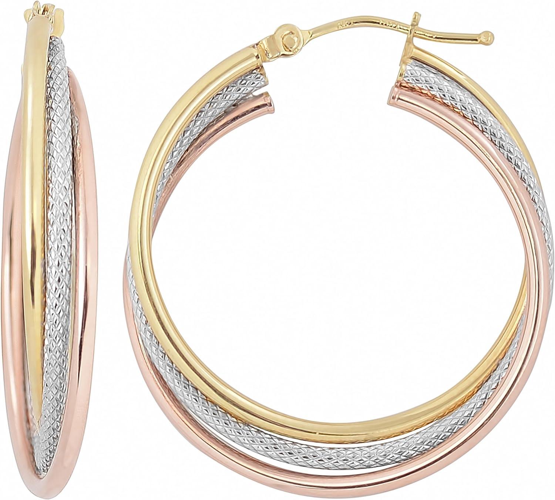Kooljewelry 14k Tri-color Gold Overlapping Triple Hoop Earrings