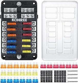 Kohree 12-Way 12V Blade Fuse Block, 12 Volt Automotive Fuse Box Holder Waterproof with Negative Bus 5A 10A 15A 20A Fuse Pa...
