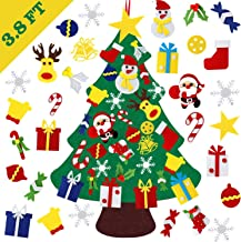 DIY Felt Christmas Tree, YanYoung Felt Christmas Tree Set, 30 Pcs Detachable Ornaments, Christmas Window Door Wall Hanging...