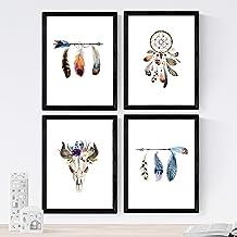 Nacnic Set de 4 láminas de Plumas De Colores Y Flores Boho,