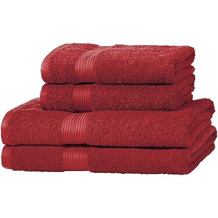 Amazon Basics AB Fade Resitant, 100% Algodón, Rojo, 2 baño + 2 manos