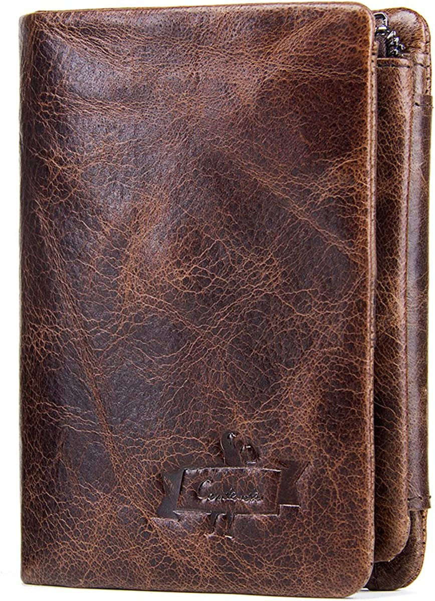 Contacts Genuine Leather Wallet for Men Bifold Trifold Credit Card Holder Coin Pocket