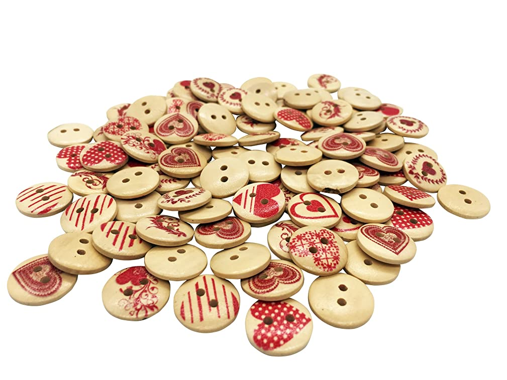 Creative Wooden Buttons Novelty Mixed Random Fashion Round 2 Holes Buttons for Sewing Crafting Scrapbook Retro Love Heart-Shaped Pattern Decorative Button 15mm Pack of 100 (Red-Love)