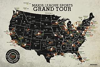 GeoJango Grand Tour Stadium Map Major League Football Baseball Basketball Hockey (24W x 16H inches)