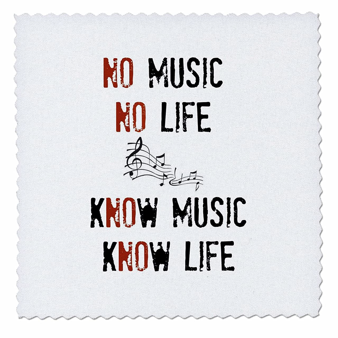 3dRose Know Life Picture of Music Notes-Quilt Square, 6 by 6-inch (qs_201977_2)