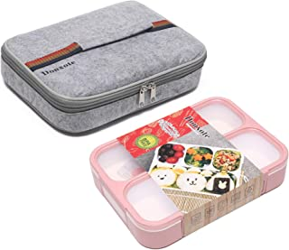 Donxote Bento Boxes Set - 4 Compartments Leakproof Sealing Bento Box 1000ml - BPA-Free Microwave and Dishwasher Safe - with Spoon & Lunch Bag (Pink)