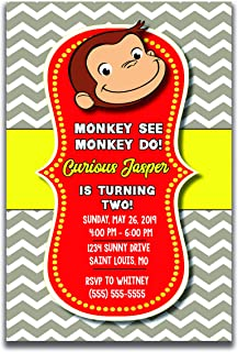 personalized curious george birthday party invitations