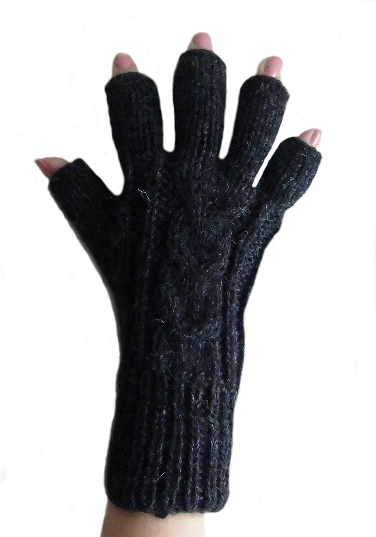 Alpakaandmore Womens Finger-free Alpaca Wool Gloves