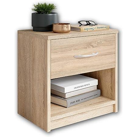 Stella Trading PEPE en chêne aspect sonoma-Table de chevet simple avec un tiroir convenant à chaque lit et chambre à coucher, Bois, 39 x 41 x 28 cm