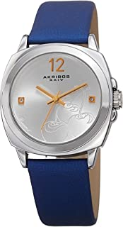 Akribos XXIV Womens Quartz Watch, Analog Display and Leather Strap AK902BU