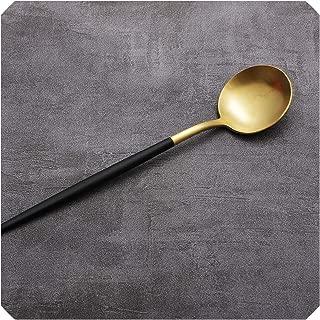 Cutlery Set White Gold Black Knife Fork Steel Cutlery Set Gold Tableware Cutlery Dinner Tableware Kitchen,1pc dessert spoon