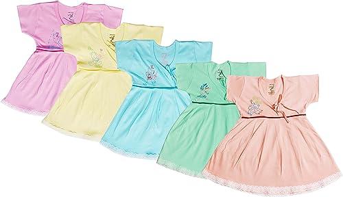 Jo Kids Wear Baby Girls' Knee Length Dress (4015_Multicolored_0-3 Months)