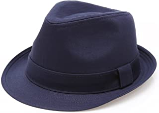 833b7814cfb MIRMARU Classic Trilby Short Brim 100% Cotton Twill Fedora Hat with Band