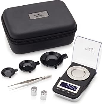 Smart Weigh Premium High Precision Digital Milligram Scale with Case, Tweezers, Calibration Weights and Three Weighing Pans, 50 x 0.001grams