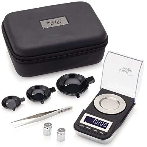 Smart Weigh Premium High Precision Digital Milligram Scale with Case, Tweezers, Calibration Weights and