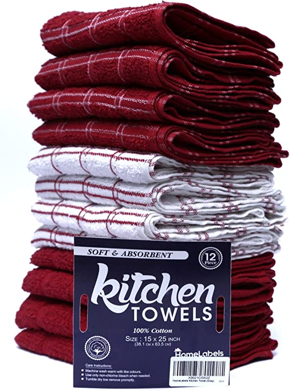 HomeLabels Kitchen Towel Red 12 Pack 15 X 25 100 Premium Cotton Machine Wash Extra Soft Of 12 Tea Towels Bar Towels Red