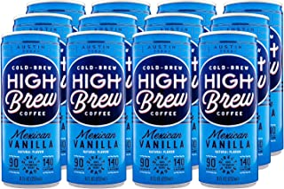 High Brew Cold Brew Coffee, Mexican Vanilla, 8 Ounce Cans (Pack of 12)