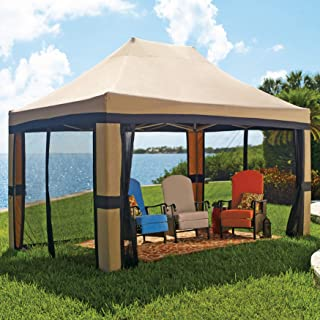 BrylaneHome Oversized 10' X 15' Instant Pop Up Gazebo with Screen - Taupe