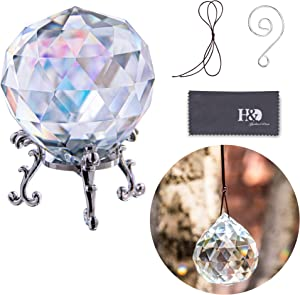 60mm Glass Faceted Ball Paperweight with Stand Crystal Suncatcher Hanging Crystal Prisms for Decor