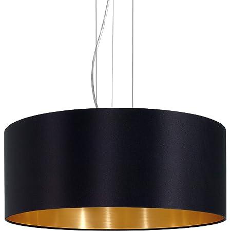 EGLO Lustre Maserlo, Suspension en Textile à 3 Flammes, Lampe Pendante en Acier et Tissu, Couleur : Nickel Mat, Noir, Or, Douille : E27, Ø : 53 cm