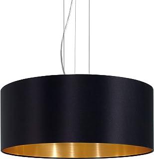 EGLO Lustre Maserlo, Suspension enTextile à 3 Flammes, Lampe Pendante en Acier et Tissu, Couleur : Nickel Mat, Noir, Or, D...