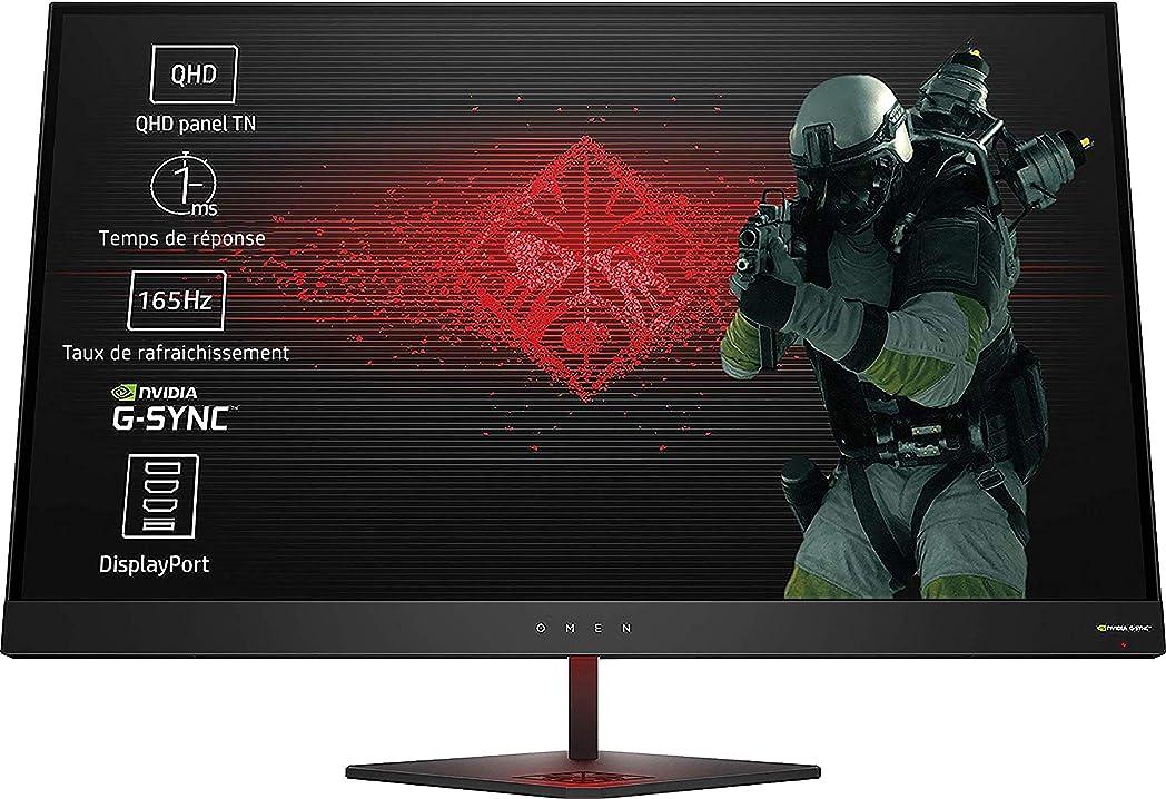 Monitor pc hp gaming omen risoluzione 2560 x 1440, tecnologia nvidia g-sync, 1.8 ms, frequenza 165 hz Z4D33AA#ABB