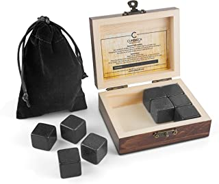 Cumbreca Whiskey Stones Gift Set, Granite Whiskey Rocks, Chilling Stones for Bourbon, Scotch, Reusable Ice Cubes, Gifts for Man in Luxury Wooden Box