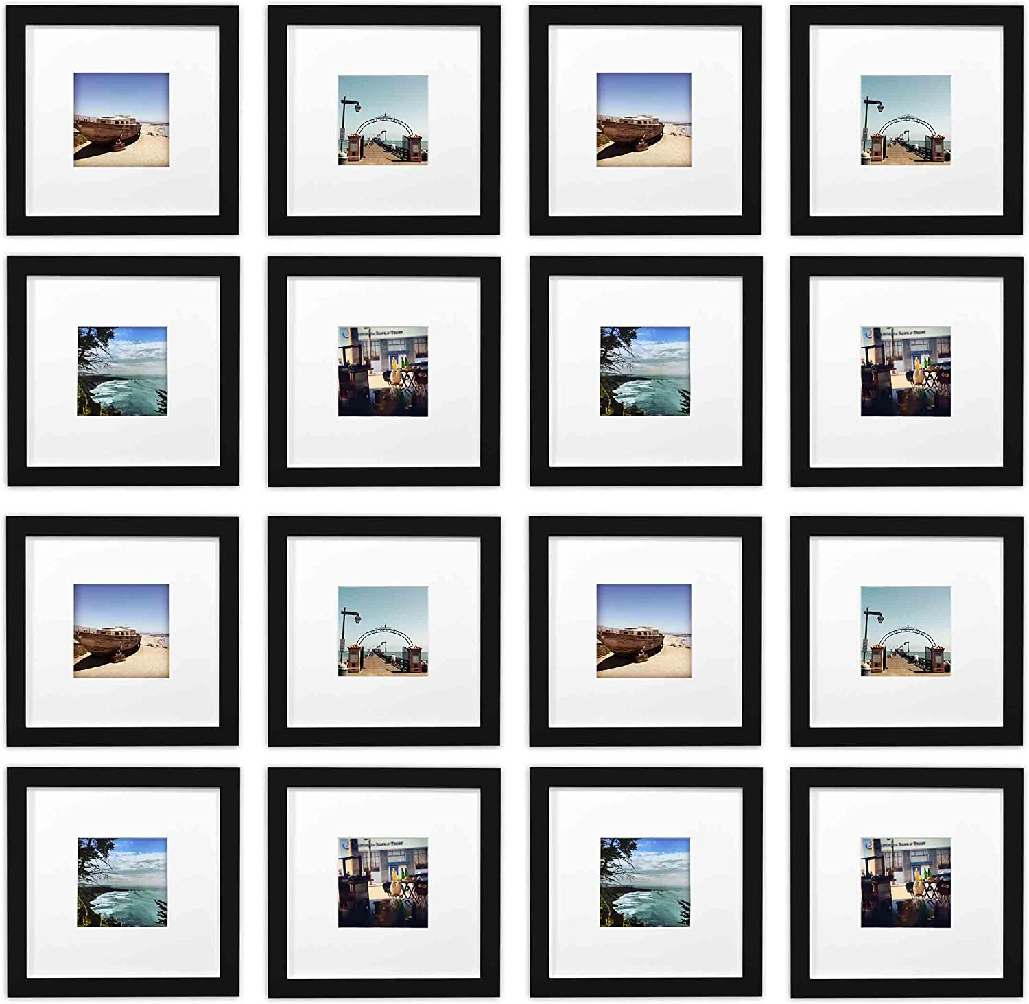 golden State Art Smartphone Instagram Frames Collection,Set of 16, 8x8-inch Square Photo Wood Frames with White Photo Mat & Real Glass for 4x4 photo, Black