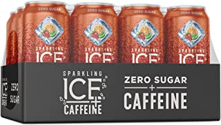 Sparkling Ice +Caffeine Strawberry Citrus Sparkling Water, with Antioxidants and Vitamins, Zero Sugar, 16 fl oz Cans (Pack...