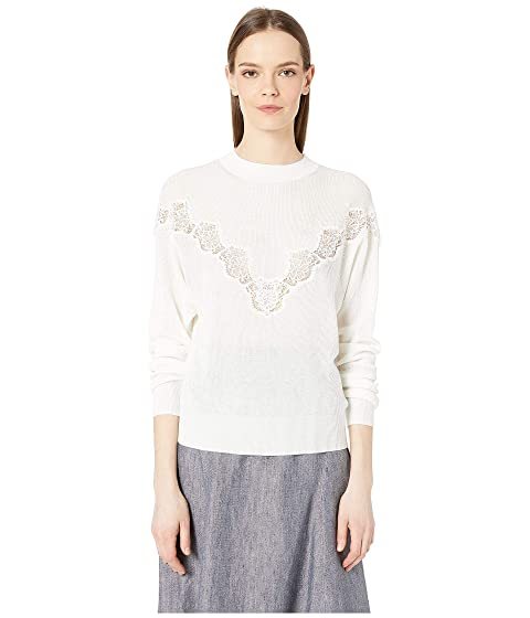 See by Chloe Floral Lace Panel Crew Neck Sweater
