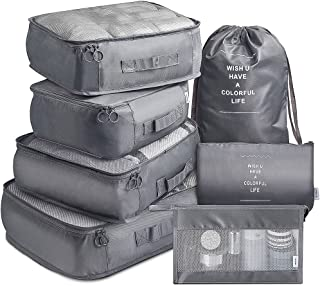 Packing Cubes VAGREEZ 7 Pcs Travel Luggage Packing Organizers Set with Toiletry Bag (Gray)
