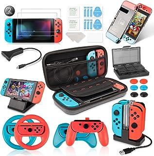 comprar comparacion Keten Kit de Accesorios para Nintendo Switch - Funda para Transporte/Base de Carga/Soporte/Cable de Extensión/Funda de Tar...