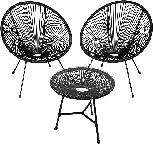 TecTake 800730 2 Fauteuils Acapulco de Jardin de Salon Design rétro, avec 1 Table, pour Un Usage en intérieur et exté...
