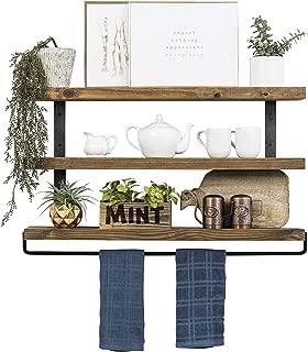 Del Hutson Designs Industrial 3-Tier Floating Shelf with Towel Bar (36 Inch, Walnut)
