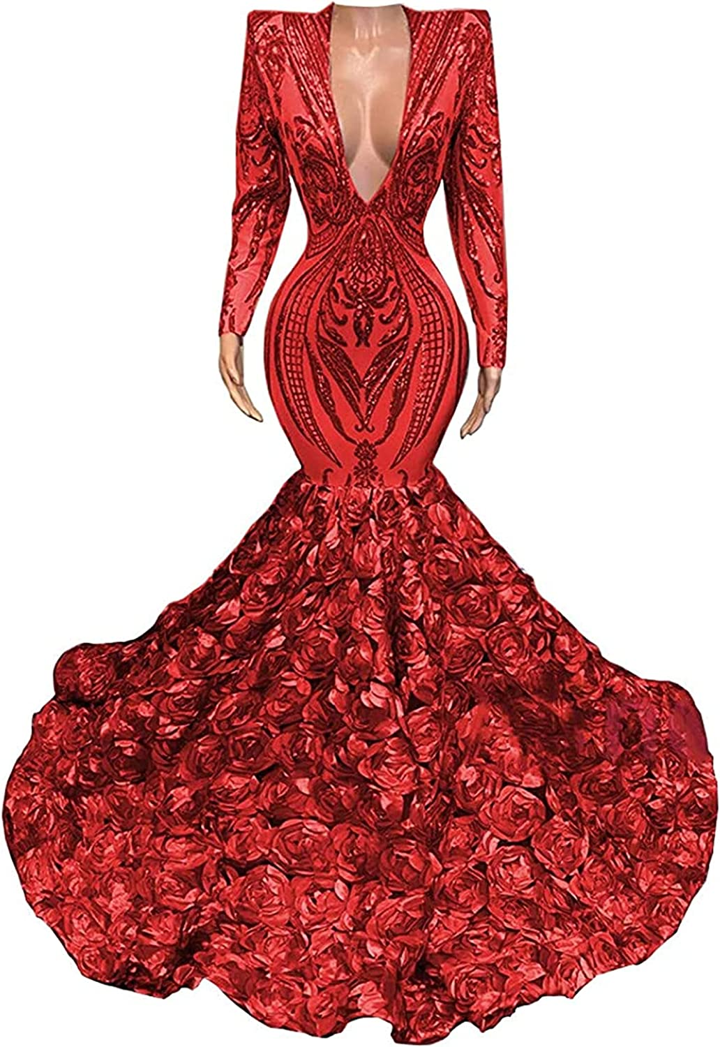 Long Sleeve V Neck Mermaid Sequined Organza Prom Evening Shower Party Dress Pageant Celebrity Gown
