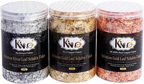 KINNO Gilding Flakes - Color 2.5 Imitation Gold, Silver, Color 0 Real Copper, 3 Bottles Metallic Foil Flakes for Pain...